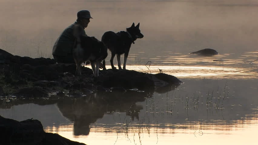 Woman and dogs in silhouette at lake