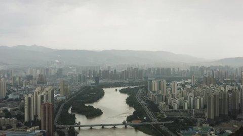 View of the Yellow River through Lanzhou
