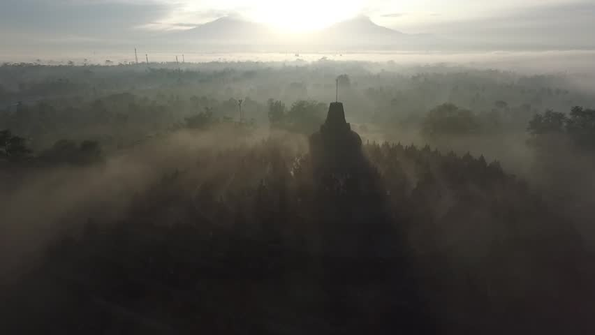 mist at Borobudur temple