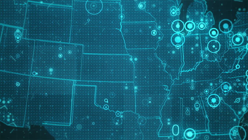 USA Map Background Cities Connections. This project includes a map of the USA with the animated background. There are animated glowing round connections in different cities on the map.  | Shutterstock HD Video #20848798