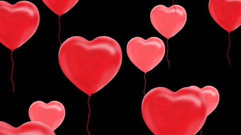 red balloons in the form of heart fly on top, Alpha Channel