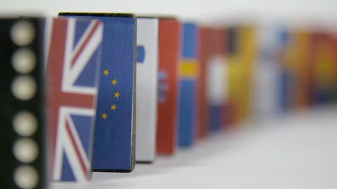 Domino effect starting with a tile with the UK flag ends with the tile of EU flag. Brexit domino effect