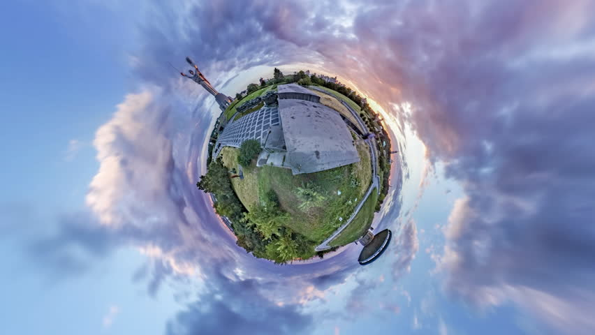 Tiny Little Planet 360 Degree Timelapse. on the Green Hills of the Museumof History of Ukraine in the 2Nd World War. Monument Motherland and Eternal Fire Bowl. Mini Planet, the Planet-City of Kyiv, | Shutterstock HD Video #20876617