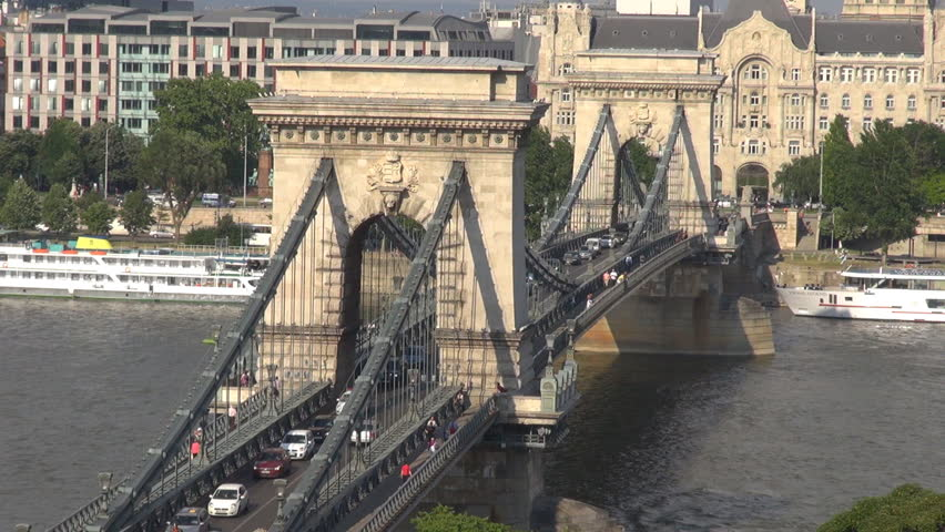 BUDAPEST, HUNGARY - MAY 28: Timelapse of The Szachenyi Chain Bridge and traffic on May 28, 2011 in Budapest.    Shutterstock HD Video #2088932