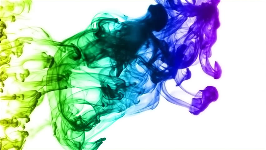 Rainbow Ink Smoke  Ink Thrown Stock Footage Video (100