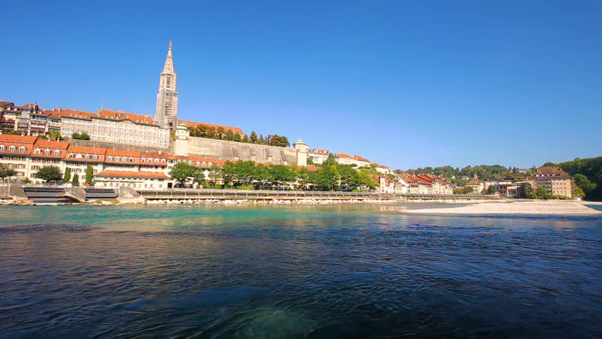 View of Bern old city center with river Aare. Bern is capital of Switzerland and fourth most populous city in Switzerland.