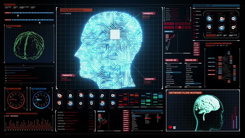 Sci Fi Brain : Hi tech scan screen skull hd d animation