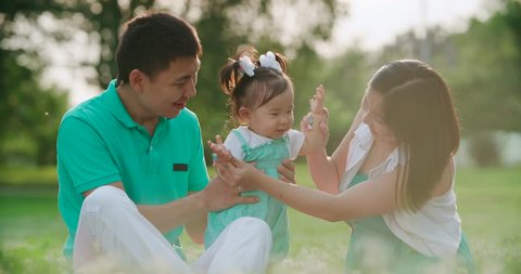 young Asian family with a year-old baby in a Park during a picnic, have fun, slow motion, close up