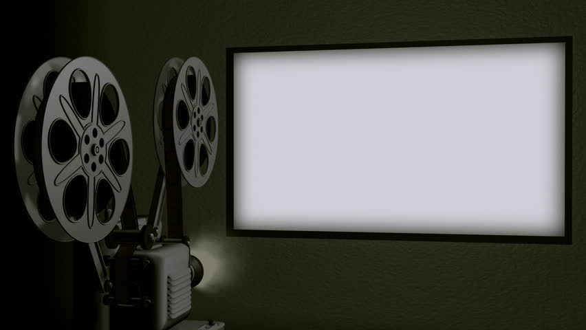 Movie Projector Screen Loop HD. Movie projector screen in 16*9 format being projected by a realistic 3D rendered projector with moving film reels and flicker. Included is audio of film advancing reel.