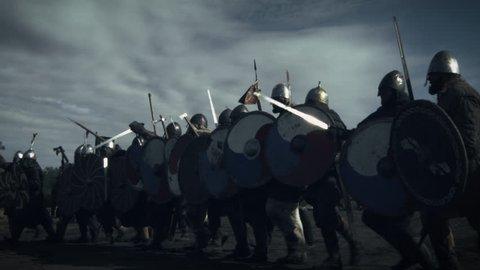 Advancing Army of Viking Warriors. Medieval Reenactment. Shot on RED Cinema Camera in 4K (UHD).