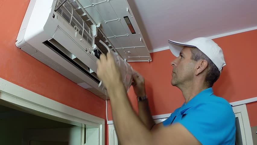 Air Conditioning Repair Stock Video Footage
