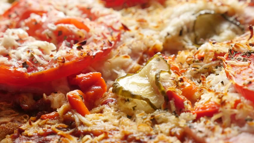 Surface of italian pizza with vegetables made of triticum spelta of triticum spelta dough 4k 2160p 30fps ultrahd tilting footage dinkel or hulled wheat gluten free vegetarian tasty food 3840x2160 uhd slow tilt video forumfinder