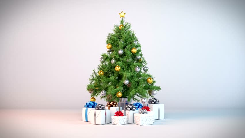 3d video animation of a christmas tree with christmas presents - loop.