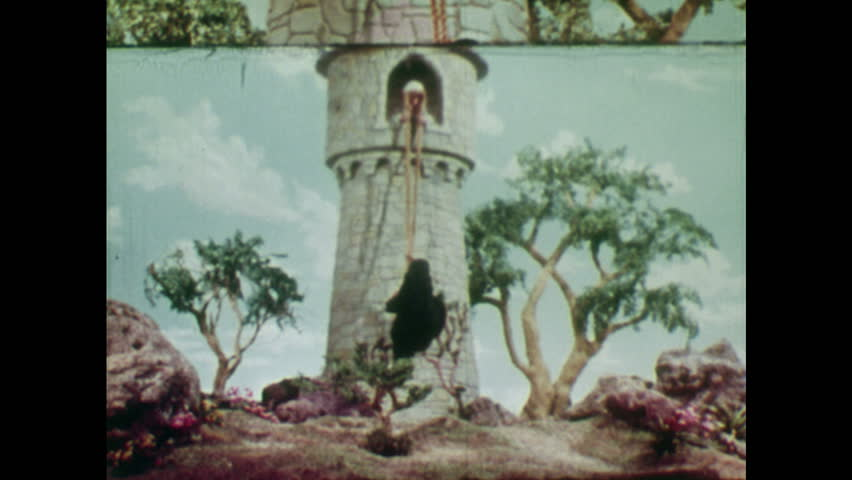 ANIMATED 1950s: Witch climbs up Rapunzel's hair. Rapunzel helps the witch to climb into the tower room. Witch takes a seat. Rapunzel pulls her hair back into the room and carries it.