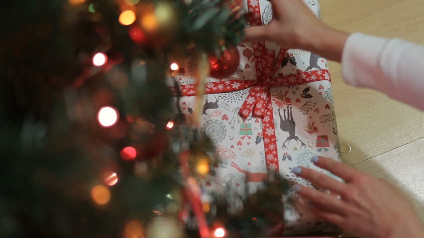 Placing a Gift under the Christmas tree.Decorated Christmas tree with gifts. #21082933