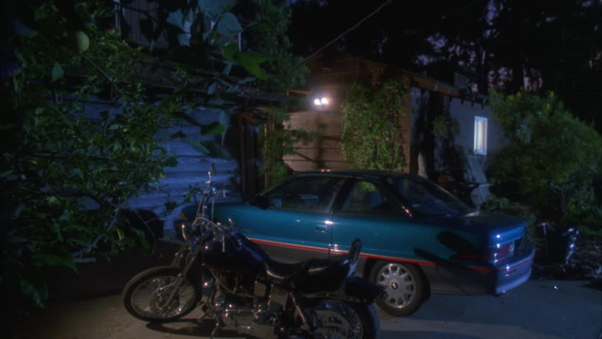 Night Tight Motorcycle Car Driveway Stock Footage Video 100
