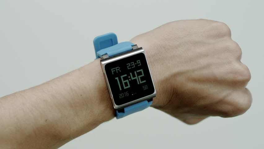 Electronic watch on a male wrist