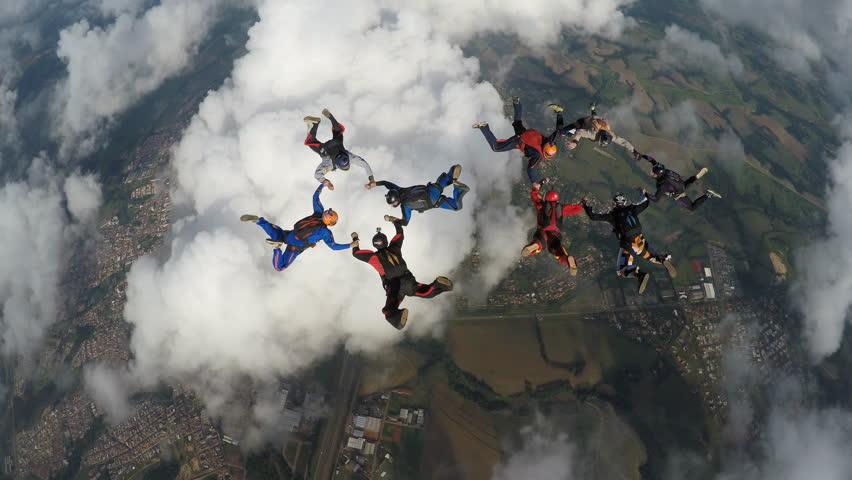 Skydiving big group | Shutterstock HD Video #21130342