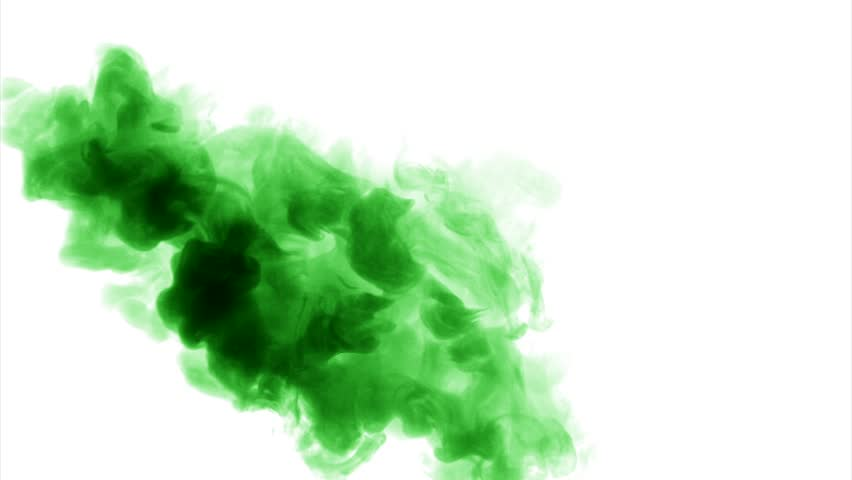 Green Cloud Smoke / Ink On Water On White Background Stock Footage ...