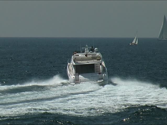 Motor yacht at sea, clip 3