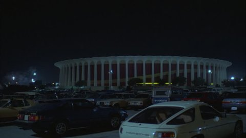 night across full parking lot Great Western Forum LA forum, indoor arena House Lakers basketball team from 1967 1999 , concert venue font color red Needs additional clearance font