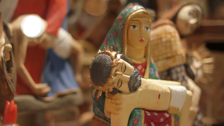 Wooden Virgin Mary holding Jesus in arms 2