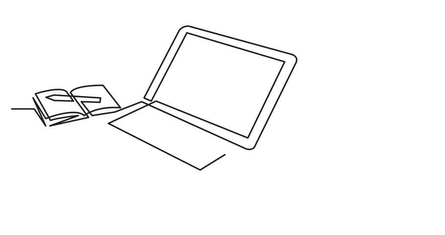 animation of continuous line drawing of laptop computer coffee on white background