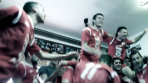 RIJEKA, CROATIA MARCH 20: Soccer players celebrate the victory on March 20, 2012 in Rijeka.
