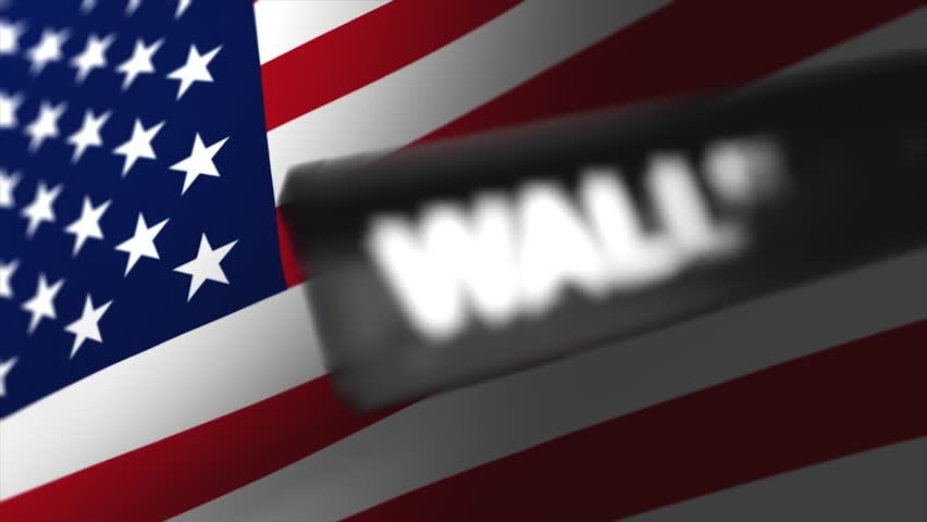 New York financial district, Wall street, concept with waving America flag.