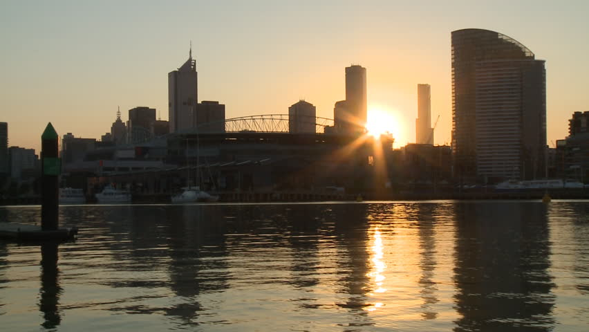 Sunrise Timelapse Over the Docklands in the City of Melbourne Australia