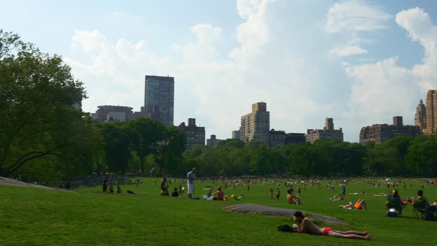 new york weekend manhattan central park sheep meadow panorama 4k usa
