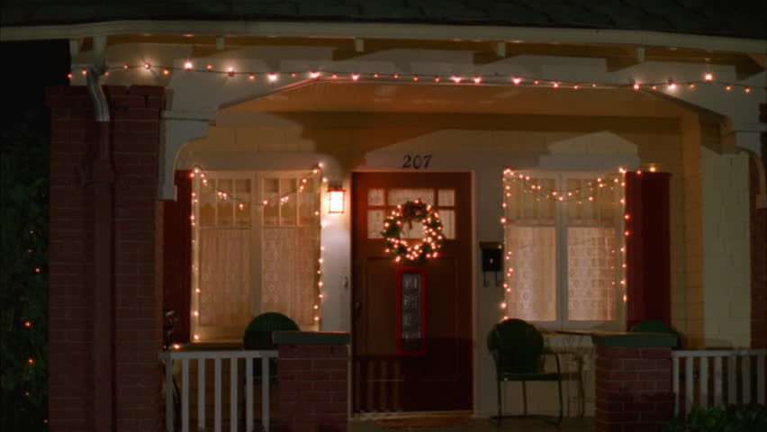 Night Tight Door Raked Left Two Story Craftsman House, Yellow Red ...