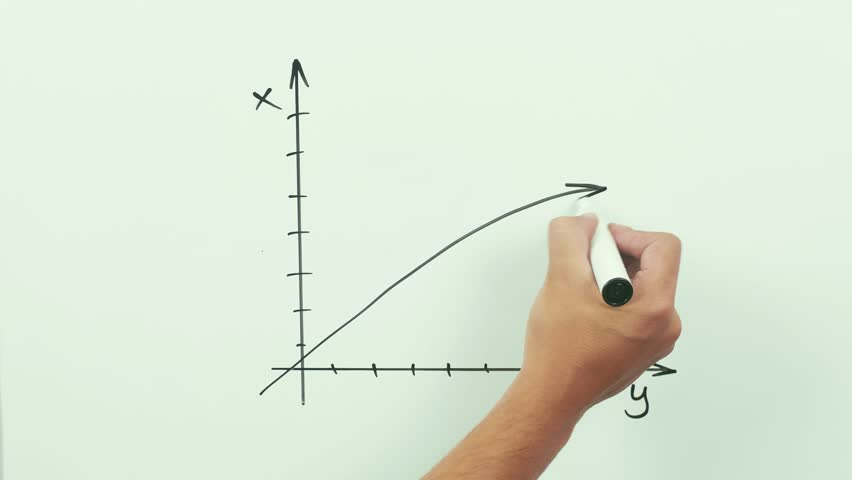 Drawing Lines With Arrows In Photo : Concept of growth chart with big up arrow performed as animated