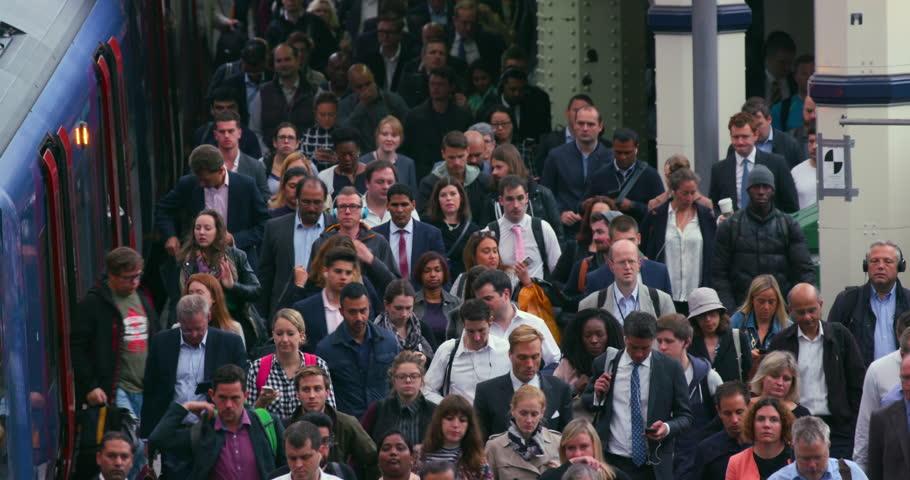 UNITED KINGDOM, LONDON - SEPTEMBER 2016: Commuters Arriving At Waterloo Station; London England | Shutterstock HD Video #21236512