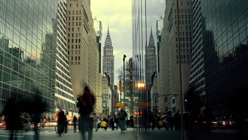 Timelapse People walking on Busy, Crowded street in Midtown Manhattan New York City, with Chrysler Building in Background, Day to Night, NYC, USA #2123993