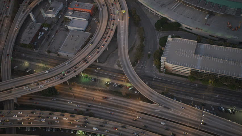 Aerial view of freeways with traffic congestion in busy US city, America, USA | Shutterstock HD Video #2126732