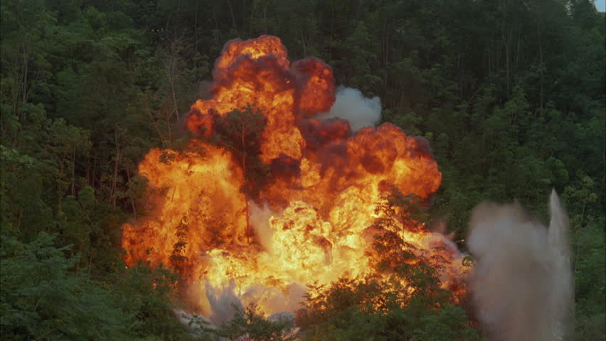 fireball explosion closeup  slow motion stock footage