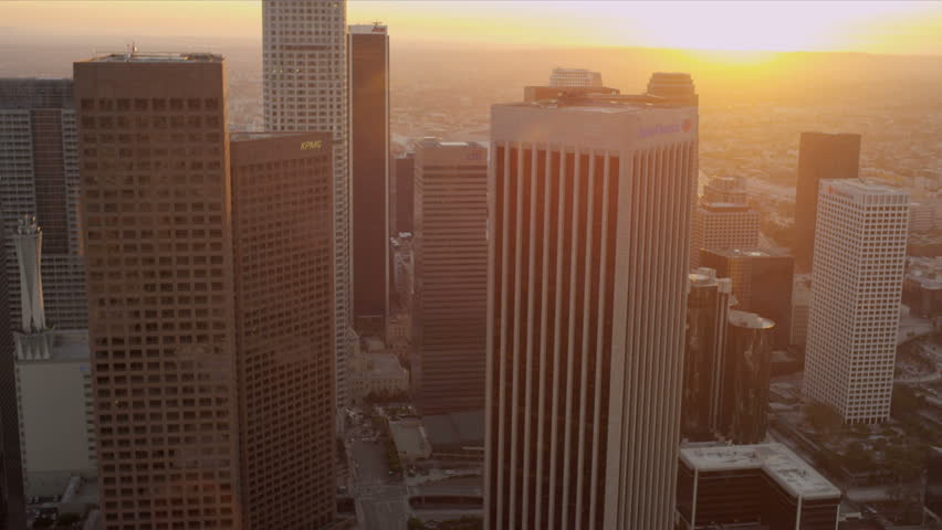 Aerial sunset view of downtown city skyscrapers in Los Angeles, California, USA. | Shutterstock HD Video #2130494