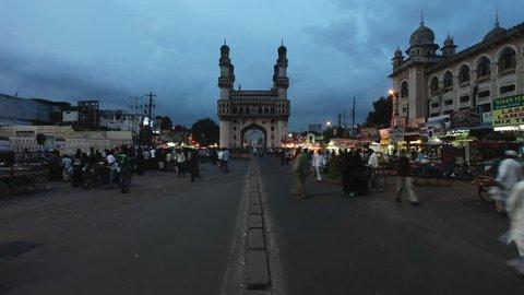 HYDERABAD, INDIA - September 17, 2011: 4k time lapse footage of Char minar, Hyderabad, Andhra Pradesh, India Sept.17, 2011.