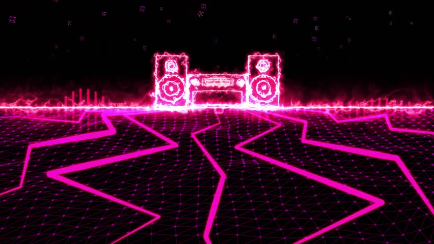 Seamless 3D abstract animation of pink sound wave stereo equalizer. In 3d geometric polygon abstract terrain motion with glowing light stereo background pink beam shooting. Used for music equalizer.   Shutterstock HD Video #21312802