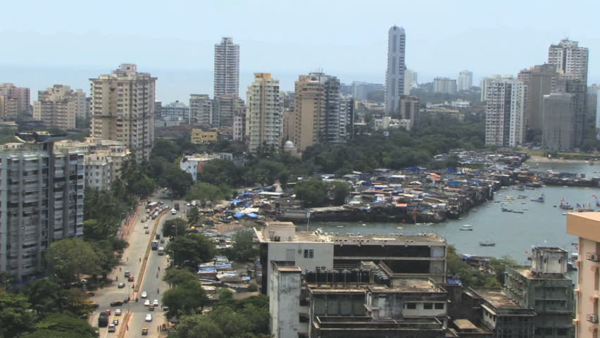 Pan over skyline business district in  mumbai, India