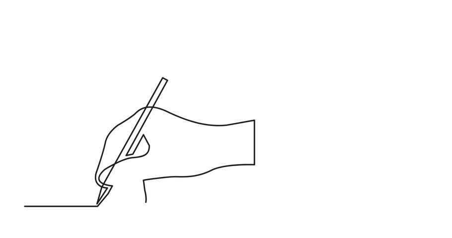 animation of continuous line drawing of hand drawing line with pencil
