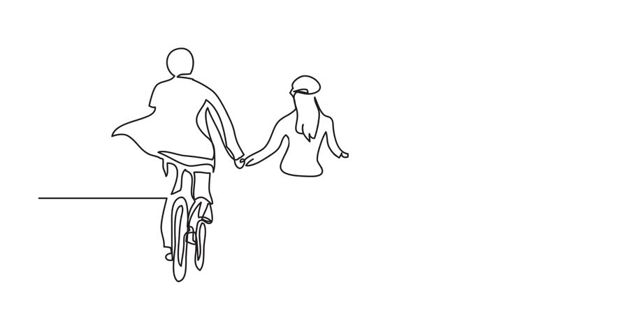 animation of continuous line drawing of two cyclists