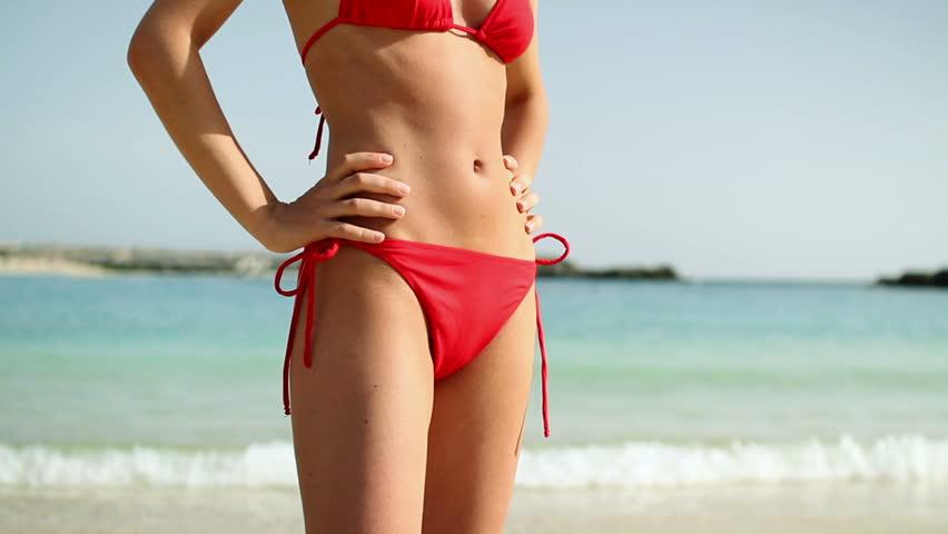 5685299862c hd00:20Sexy woman in red bikini on the beach, steadicam shot