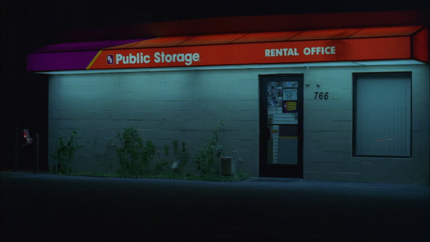 Night Hold Main Office Public Storage Self Facility Then Pan Right See Roll Doors