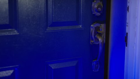 Open door at the scene of a burglary - robbers and home invasion