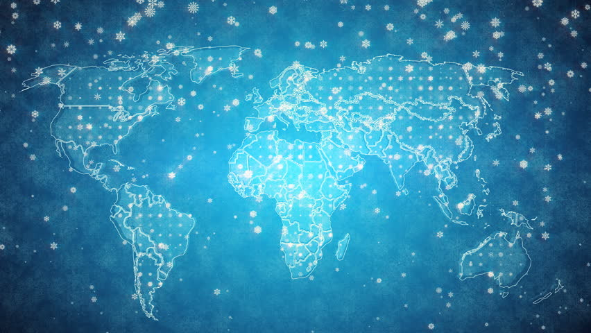 Abstract world map glow particles and contours map different snowy blue background world map with the text merry christmas animated inscription merry christmas on gumiabroncs Gallery