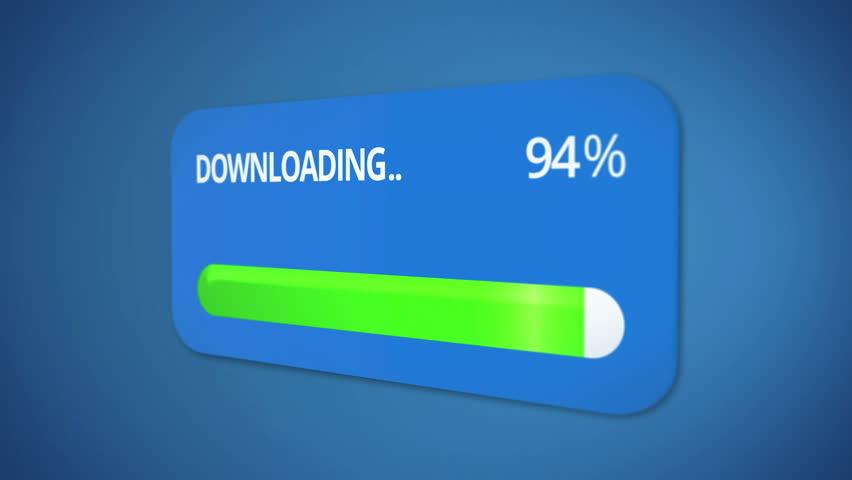 Downloading dialog box with green progress bar, rising percentage, process done | Shutterstock HD Video #21431512