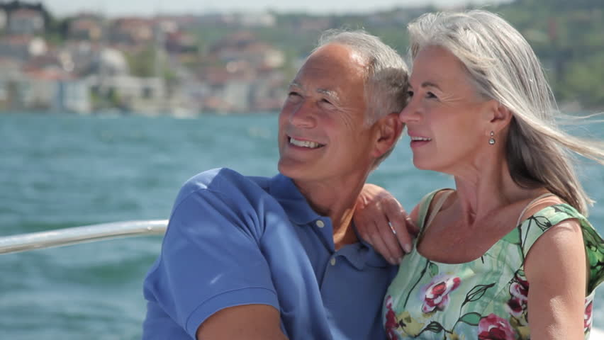 Senior couple embracing on a yacht in Istanbul, Turkey