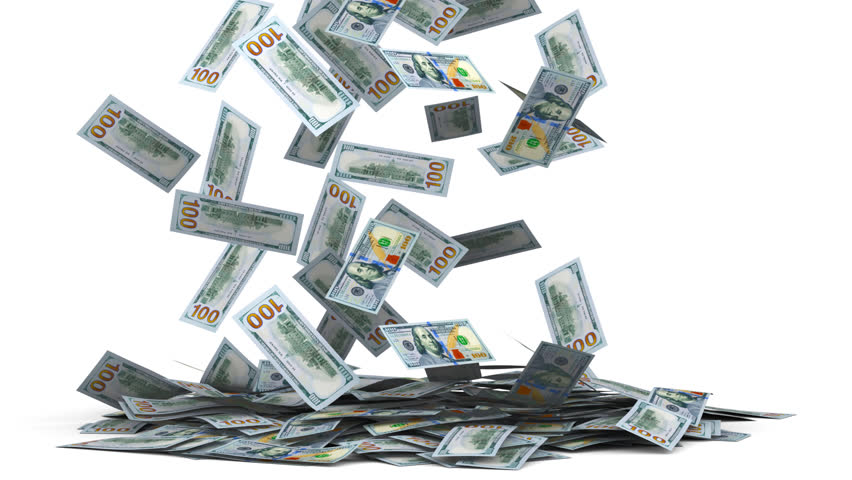 3D animation, render. One hundred dollars money banknotes falling on floor, isolated on white